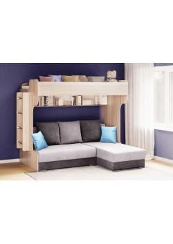 Kampinė dviaukštė lova - Eliza Gold su sofa